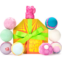 Large colourful Groovy Kind of Lush gift box surrounded by bath bombs