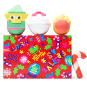 red green and yellow gift with bath bombs on top