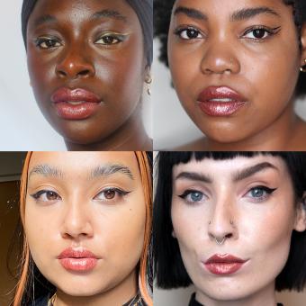 der goldfarbene treasured lippenstift auf unterschiedlichen models