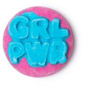 grl pwr badge burbuja de baño de color rosa y azul primavera 2019