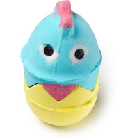 A blue and yellow bubbleroon in the shape of a chicken