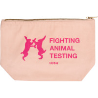 a cosmetic pouch with pink writing