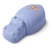 blue coloured hippo shaped bath bomb with gold glitter