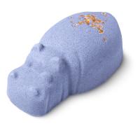bomba de baño en forma de hipopótamo de color púrpura