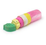 Zylindrische Waschknete in den Farben Pink, Gelb und Weiß mit Sprudelteilen in Pink, Gelb und Grün