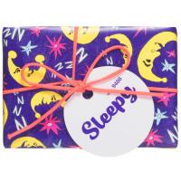 Kleines, violettes Geschenk dekoriert mit Monden
