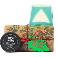 regalo de Navidad con envoltorio regalo navideño compuesto por un papel de regalo marrón con plantas y productos cosméticos al lado