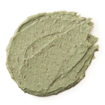 hellgrüne Creme mit hellbraunen Pünktchen