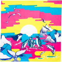 A blue and yellow scene of whales and penguins in the artic