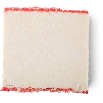 Trichomania é um champô em barra da Lush branco e rosa de coco