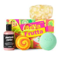caja de regalo bella frutta con 4 productos lush para un baño completo y refrescante