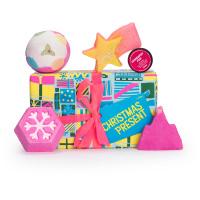 Confezione regalo di Natale Christmas Present e il suo contenuto