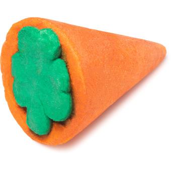 espuma de banho em forma de cenoura com formas de folha verde na parte superior
