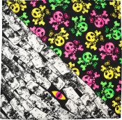 a multicoloured skull print knot wrap