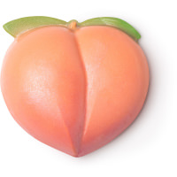 peach shaped soap with green top