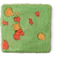 green square shaped bar with orange and yellow scrub inside