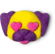 A purple and yellow puppy face shaped bubble bar with pink hears as eyes