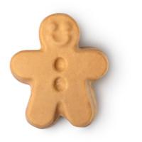 Gingerbread man é uma barra corporal brilhante em forma de boneco de ginger com pó escondido dentro dos botões