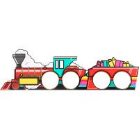 A christmas themed train shaped cardboard cutout to hold bath bombs