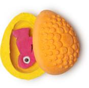 bunny fun é uma bomba de banho com formato de ovo laranja com um coelho de Fun lá dentro