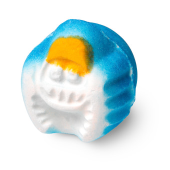 A white blue and yellow bath bomb shaped like a monster