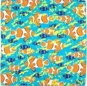 aqua coloured clown fish patterned design knot wrap