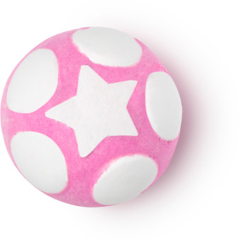 Snow fairy é umas das jelly bombs de natal com aroma a algodão doce e pó de fada cor de rosa com bolas e estrela branca
