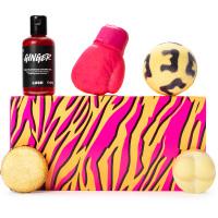 A retangular leopard skin orange and pink box with bath and shower cosmetics around it