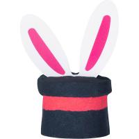 bomba de bano em forma de um chapéu cinza escuro com orelhas de coelho saindo dela