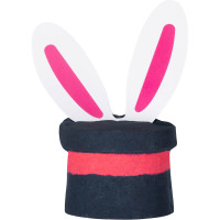 dark grey hat shaped bath bomb with bunny ears sticking out of it