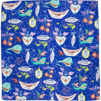 dark blue knot wrap with nature and fruit themed design