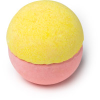 star spell é uma bomba de banho bicolor metade rosa metade amarela
