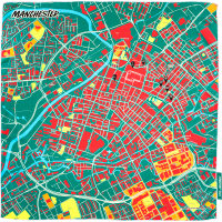 a knot wrap with a printed map of manchester