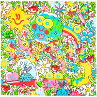 a psychedelic knot wrap with blue bunnies and red mushrooms