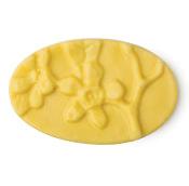 Gelber, ovaler Massage Bar mit 3D Blütendekoration