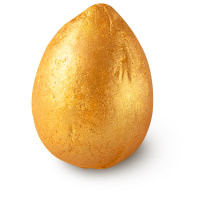 gold coloured egg shaped bath bomb