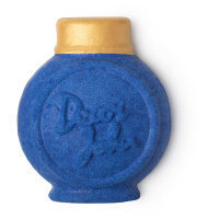 a blue round bottle shaped bubble bar