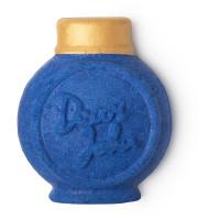 a blue round bottle shaped bubble bar