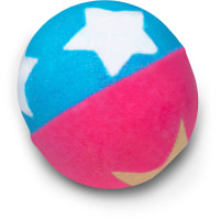 pink and blue bath bomb with white heart shapes on it