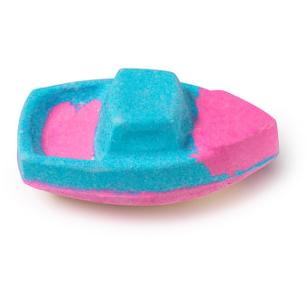 Pink and blue bath bomb in the shape of a boat