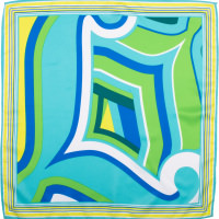 blue and green coloured knot wrap with big l design