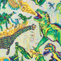 Ein weißes Tuch mit Dinosauriern als Geschenkverpackung