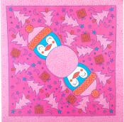 papel lokta con diseño de pingüinos de color rosa