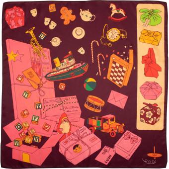 Pinkes Tuch dekoriert mit Booten, Zuckerstangen, Spielzeug und Geschenkpaketen