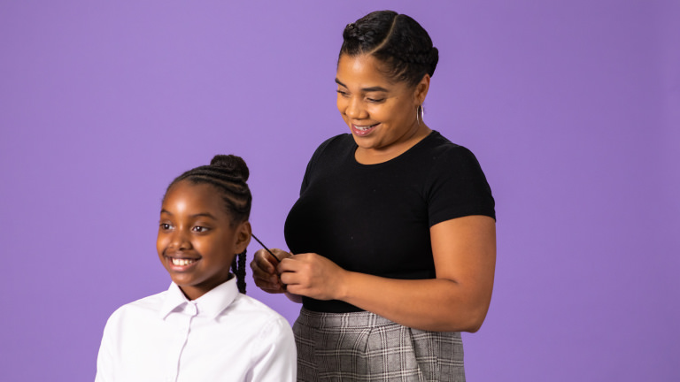 Lush Afro hair consultant Sarah Sango and daughter Monae try out the products