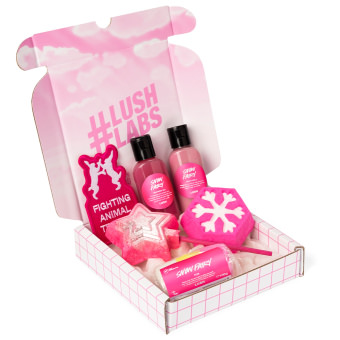 pink and white letterbox shaped snow fairy gift with products inside