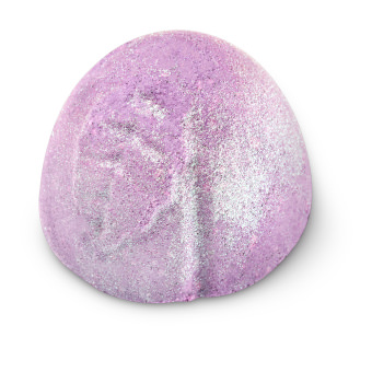 purple glittery shower bomb with leaf pattern on top