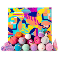 multicoloured gift box with products around it