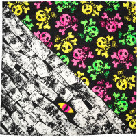 a multicoloured skull print knot wrap