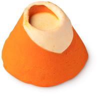 burbuja de baño de color naranja con forma de cráter de volcán